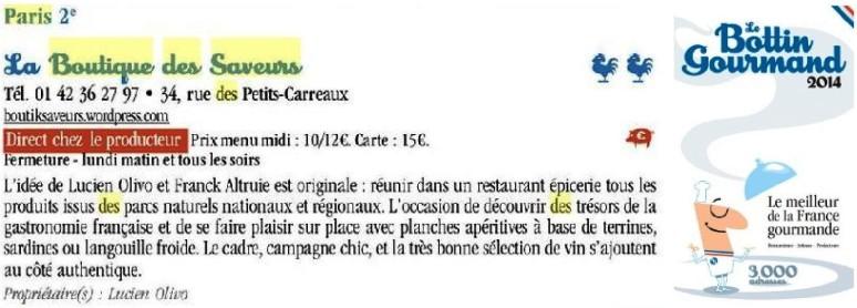 Boutique Des Saveurs - Epicerie Fine & Dégustations - Paris - www.boutiksaveurs.com / Le Bottin Gourmand 2014